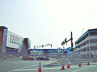 The Izod Center with the under-construction Meadowlands Xanadu, now called American Dream Meadowlands on March 14, 2009
