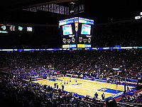 The arena, when it was named Continental Airlines Arena, during a Seton Hall college basketball game