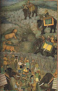 Painting of Shah Jahan hunting Asiatic lions at Burhanpur, present-day Madhya Pradesh, from 1630