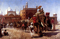Shah Jahan and the Mughal Army return after attending a congregation in the Jama Masjid, Delhi.
