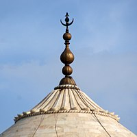 Finial, Tamga of the Mughal Empire (combining a crescent and a spear pendant with the word Allah).