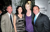 (l-r) Governor appointee Don Norte, Dr. Lara Embry, Jane Lynch, and Norte's husband, gay activist Kevin Norte, at Autum P-FLAG 2010's Charitable Event at The London Hotel, West Hollywood
