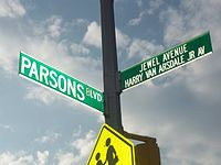 Standard cross-street signs for a single-named Boulevard and a co-named Avenue, in Queens