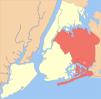 Location of Queens (red) within New York City (remainder white)