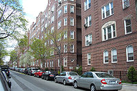 A typical residential street in Jackson Heights