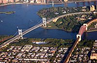 The Triborough Bridge connects Queens with Manhattan and the Bronx.