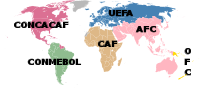 Map of the World with the six confederations