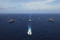 Image of United States ships participating in the Malabar 2007 naval exercise. Aegis cruisers from the navies of Japan and Australia, and logistical support ships from Singapore and India in the Bay of Bengal took part.