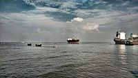 Some small fishing boats are catching fish & sell them in local coastal markets.