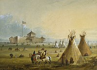 The first Fort Laramie as it looked before 1840 (painting from memory by Alfred Jacob Miller)