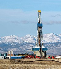 A natural gas rig west of the Wind River Range