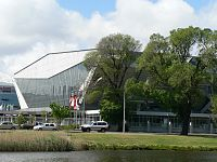 The heritage registered former Olympic Pool (now the Holden Centre), viewed from the Yarra River