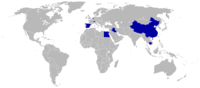 Countries boycotting the 1956 Games are shaded blue