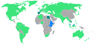 Participating countries, those making their début are shown in blue.