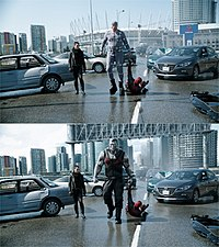 Top: Andre Tricoteux (center) on set as Colossus, wearing a gray tracking suit. Bottom: Completed shot, with CG Colossus by Digital Domain and environment by Atomic Fiction.