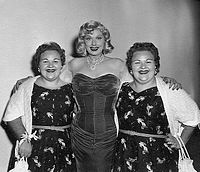 """The Borden Twins on the set with Lucille Ball prior to the filming of their episode, """"Tennessee Bound""""."""