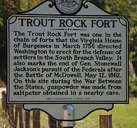 Historical marker marking the end of Gen. Stonewall Jackson's pursuit of the Federals after the Battle of McDowell, May 12, 1862