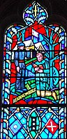 Stonewall Jackson with the flag of the Confederate States in art in a stained glass window of the Washington National Cathedral
