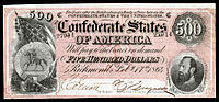 In 1864 Jackson was memorialized on the Confederate $500 banknote.