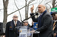 Booker speaks at an American Federation of Government Employees rally in 2018