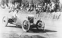 """Oldfield driving the """"Green Dragon"""" at Lakeside Track in San Diego, California, in April 1907"""