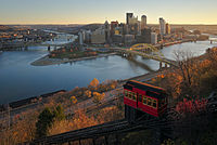 Downtown Pittsburgh and the Duquesne Incline from Mt. Washington