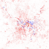 Map of racial distribution in Pittsburgh, 2010 U.S. Census. Each dot is 25 people: White, Black, Asian , Hispanic or Other