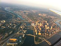 At least 17 of Pittsburgh's bridges are visible in this aerial photo