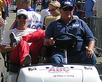 A. J. Foyt (right) and former driver Darren Manning (left) at the 2007 Indianapolis 500.