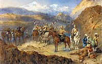 9th Lancers on the march to Kandahar, water-colour by Orlando Norie. The troops would march in the early morning to avoid the full heat of the sun, halting a few minutes every hour. In this way, the column managed to cover up to 20 miles a day.