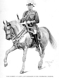 """""""Lord Roberts of Kabul and Kandahar on his Celebrated Charger,"""" by Richard Caton Woodville (Harper's Magazine, European Edition, December 1897, p27). For his services, General Roberts received the thanks of Parliament, and was appointed both Knight Grand Cross of the Order of the Bath (GCB) and Companion of the Order of the Indian Empire (CIE) in 1880, becoming a baronet the following year."""