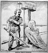 "Cartoon of Einstein after shedding his ""pacifism"" wings (Charles R. Macauley, c. 1933)"