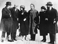 Albert Einstein with his wife Elsa Einstein and Zionist leaders, including future President of Israel Chaim Weizmann, his wife Vera Weizmann, Menahem Ussishkin, and Ben-Zion Mossinson on arrival in New York City in 1921
