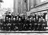 The 1927 Solvay Conference in Brussels, a gathering of the world's top physicists. Einstein is in the center.