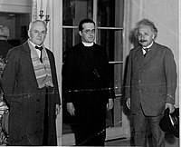 Einstein with Millikan and Georges Lemaître at the California Institute of Technology in January 1933.