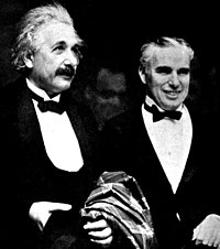 Einstein (left) and Charlie Chaplin at the Hollywood premiere of City Lights, January 1931