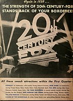 The 20th Century-Fox logo depicted in a 1939 advertisement in Boxoffice
