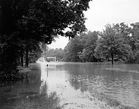 Flooding of the North Anna River along U.S. Route 1 after Hurricane Camille, 1969