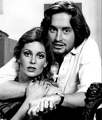 Douglas in 1969 with Tisha Sterling in the CBS Playhouse production The Experiment, Douglas's first television role
