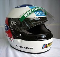 Helmet for the 1994 season (Benetton); Schumacher used the Bell helmet for 9 years in Formula One, from the 1992 Canadian Grand Prix to 2001 Australian Grand Prix.