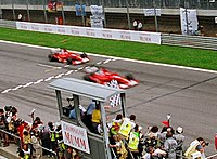 Rubens Barrichello makes way for Schumacher at the end of the 2002 Austrian Grand Prix