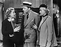 Genevieve Tobin (left) as Della Street, with Warren William and Patricia Ellis in The Case of the Lucky Legs (1935)