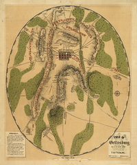 This 1863 oval-shaped map depicts Gettysburg Battlefield during July 1–3, 1863, showing troop and artillery positions and movements, relief hachures, drainage, roads, railroads, and houses with the names of residents at the time of the Battle of Gettysburg.