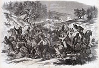 A Harper's Weekly illustration showing Confederate troops escorting captured African American civilians south into slavery. En route to Gettysburg, the Army of Northern Virginia kidnapped approximately 40 black civilians and sent them south into slavery.