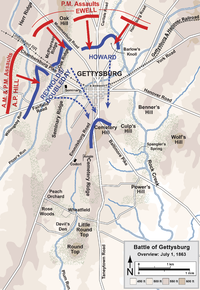 Overview map of the first day of the Battle of Gettysburg, July 1, 1863