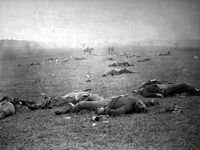 """""""The Harvest of Death"""": Union dead on the battlefield at Gettysburg, Pennsylvania, photographed July 5 or July 6, 1863, by Timothy H. O'Sullivan"""