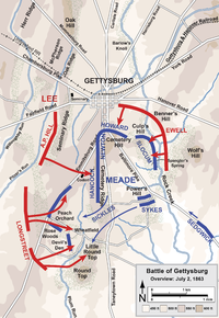 Overview map of the second day of the Battle of Gettysburg, July 2, 1863