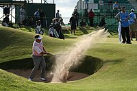 Westwood making a bunker shot at the 2008 Open