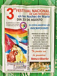 Poster of a transvestite festival organised by the Grupo de Mujeres Lesbianas y Bisexuales (Group of Lesbian and Bisexual Women) in Santa Clara.