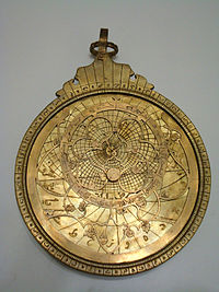 A newly made bronze Astrolabe, as a sample of Ghalamzani in Tabriz